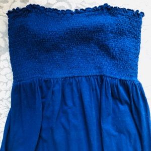 Motherhood Maternity Dress Royal Blue Cotton